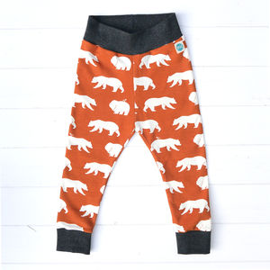 Organic Bear Leggings - woodland trend