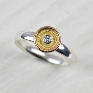 18ct Multi Gold And Silver Diamond Ring