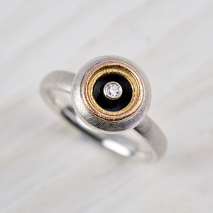 Silver And 18ct Gold Diamond Ring