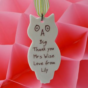 Teacher's Personalised Owl Decoration