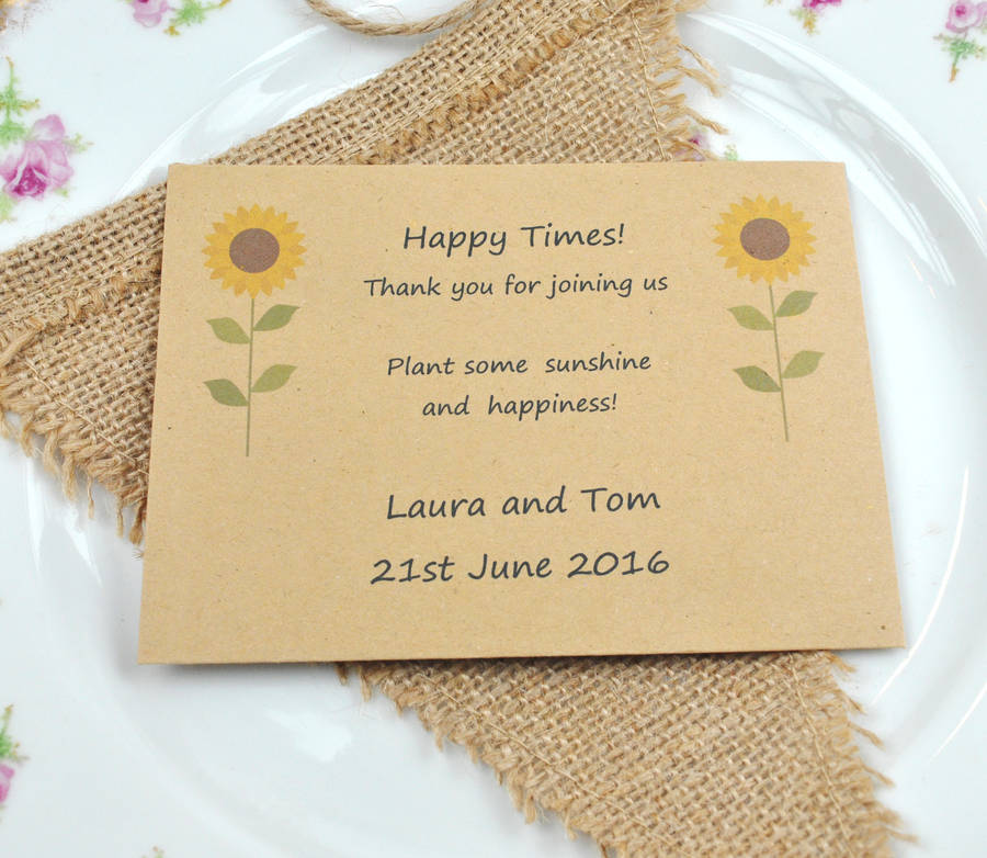 happy times  recycled sunflower seed packet favour by