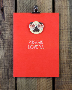 'Puggin Love Ya' Pug Personalised Greeting Card - wedding, engagement & anniversary cards
