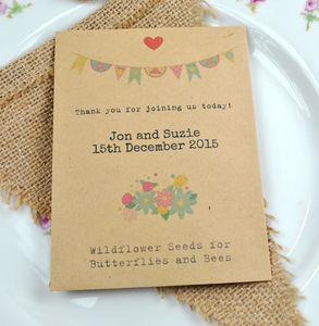 Butterflies And Bees Bunting Design Seed Packet Favour - wedding favours