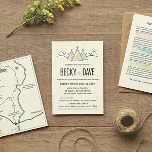 Tepee And Lace Wedding Stationery - invitations