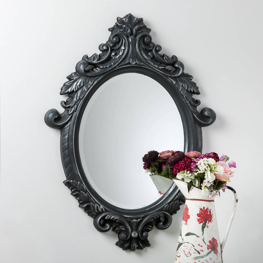 black and silver ornate oval mirror by hand crafted mirrors ...