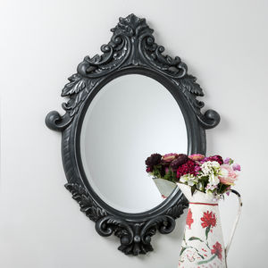 Black And Silver Ornate Oval Mirror - mirrors