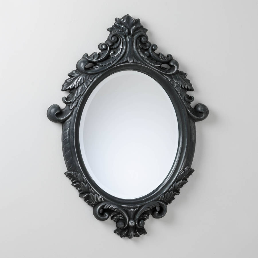 Black And Silver Ornate Oval Mirror By Hand Crafted