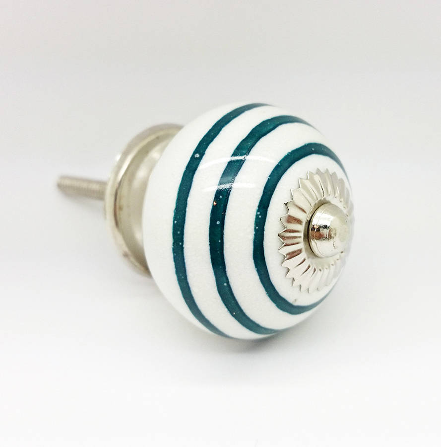 Ceramic Door Knobs Dark Green Striped On White Cupboard