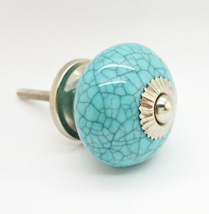 Light Blue Crackle Cupboard Door Knob Drawer Handle - door knobs & handles
