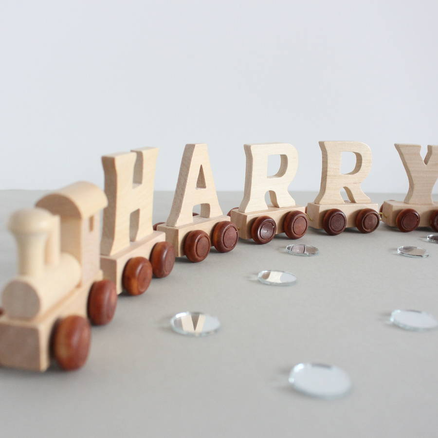 Personalised Wooden Name Train And Gift Bag