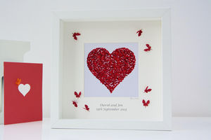 Personalised Red Heart Butterfly Framed Print - wedding gifts