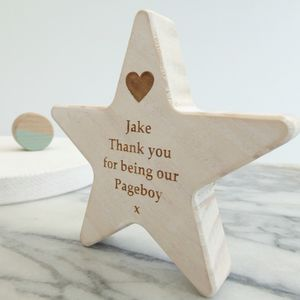 Personalised Page Boy Wooden Star Keepsake - keepsakes