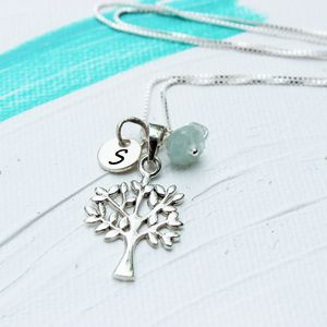 Personalised Tree Of Life Necklace With Birthstone
