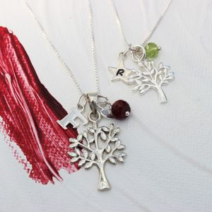 Mama Et Moi Tree Of Life Necklaces With Birthstones