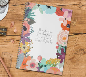 Personalised Thank You Notebook For Teachers 'Flowers' - gifts for teachers