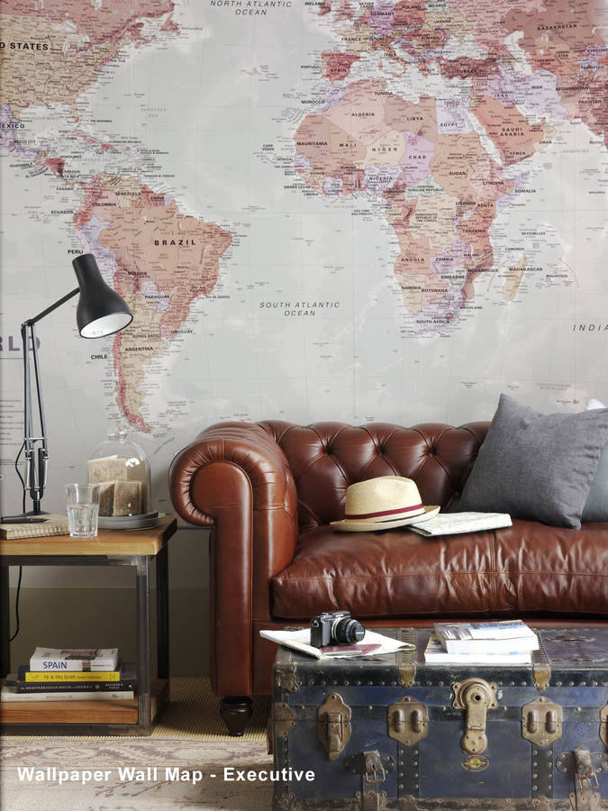 World map wallpaper by maps international notonthehighstreet executive world wallpaper world map wallpaper gumiabroncs Images