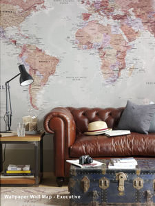 World Map Wallpaper - office & study