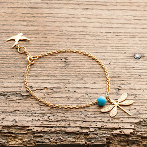Gold Gemstone Dragonfly Bracelet