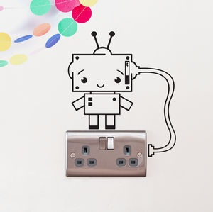 Plug Socket Robot Vinyl Wall Sticker - wall stickers