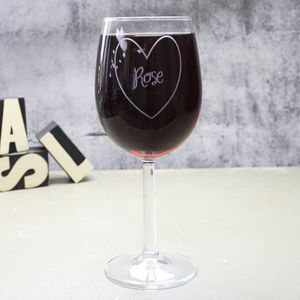 Personalised Wine Glass With Engraved Heart