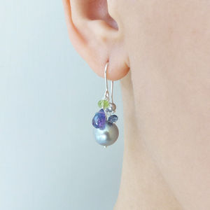 Cluster Pearl Drop Earrings - earrings