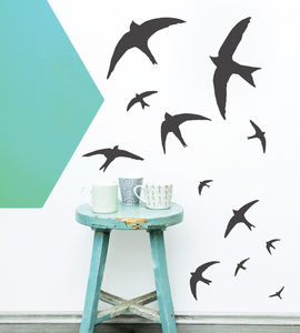 Flock Of Swifts Vinyl Wall Sticker - wall stickers