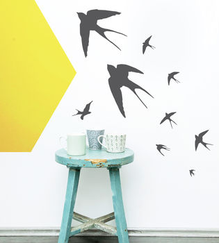 Flying Swallows Vinyl Wall Sticker