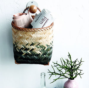 Set Of Two Bamboo Storage Baskets With Handles - storage baskets