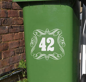 Wheelie Bin Number Vinyl Stickers - wall stickers
