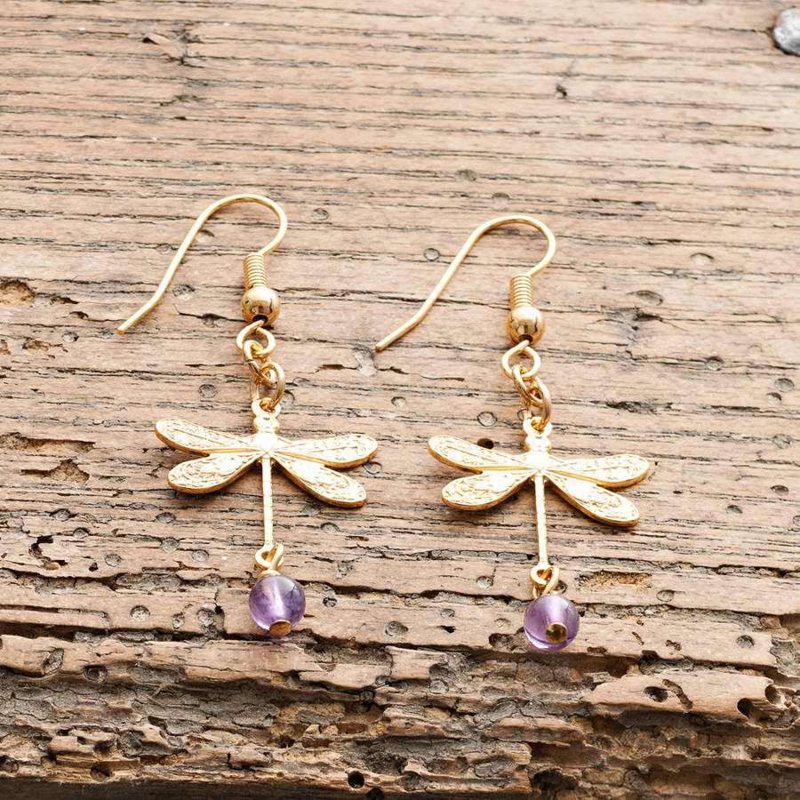 Gold Dragonfly Earrings By Victoria Jill