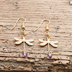 Gold Dragonfly Earrings - earrings