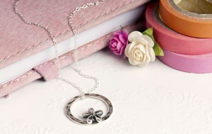 Hammered Circle With Flower Charm Necklace - necklaces & pendants