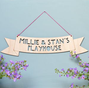 Personalised Wooden Hanging Sign - nursery pictures & prints
