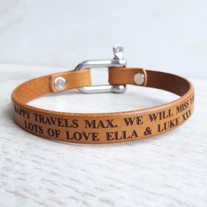 Personalised Leather Bolt Clasp Bracelet - men's sale