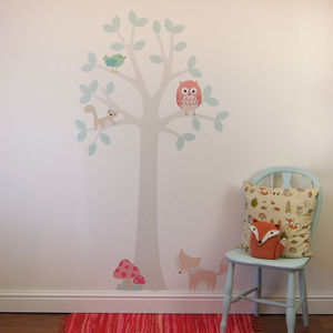 Pastel Woodland Tree With Owl Wall Stickers