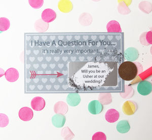 Personalised Will You Be My Usher Scratch Card - keepsakes