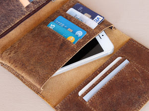 Leather Trifold Wallet And Phone Cover