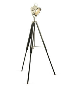 Spotlight Floor Lamp Black Wooden Tripod - lighting
