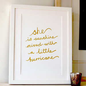 'She Is Sunshine' Gold Foil Print - home accessories