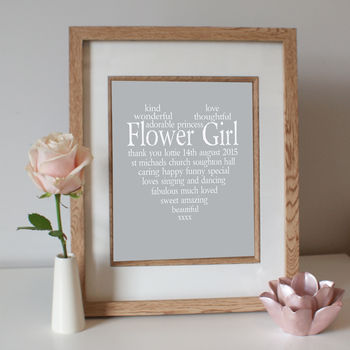 Personalised Flower Girl Print