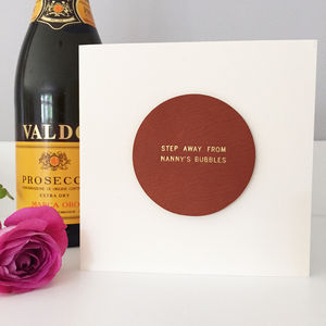 Personalised Champagne Glass Leather Coaster Card - anniversary cards