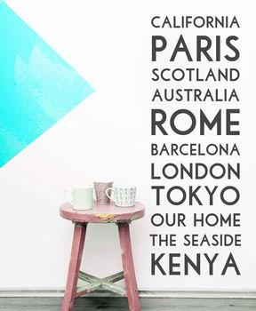 'Personalised Destination' Wall Sticker