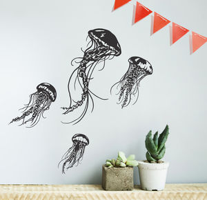 Jellyfish Wall Sticker Set - decorative accessories