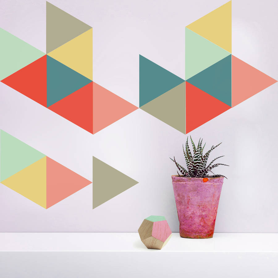 large geometric triangle vinyl wall stickers by oakdene geometric hexagons wall stickers by the binary box