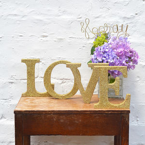 Valentine Gold Sparkly Glitter Love Sign - occasional supplies