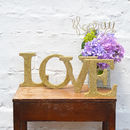 Gold Sparkly Glitter Love Sign