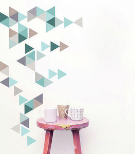 Geometric Triangles Vinyl Wall Sticker Set - decorative accessories