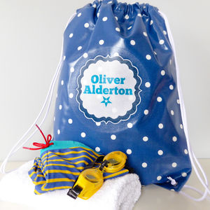 Navy Spotty Oilcloth Kit Bag - storage