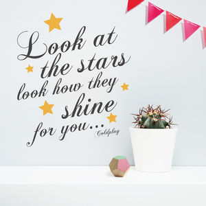 'Look At The Stars Coldplay' Wall Sticker - bedroom