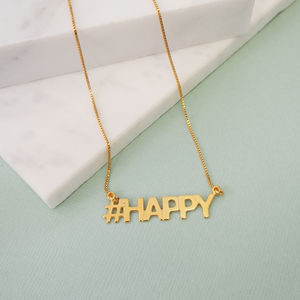 Personalised Hashtag Happy Necklace - gifts for teenage girls